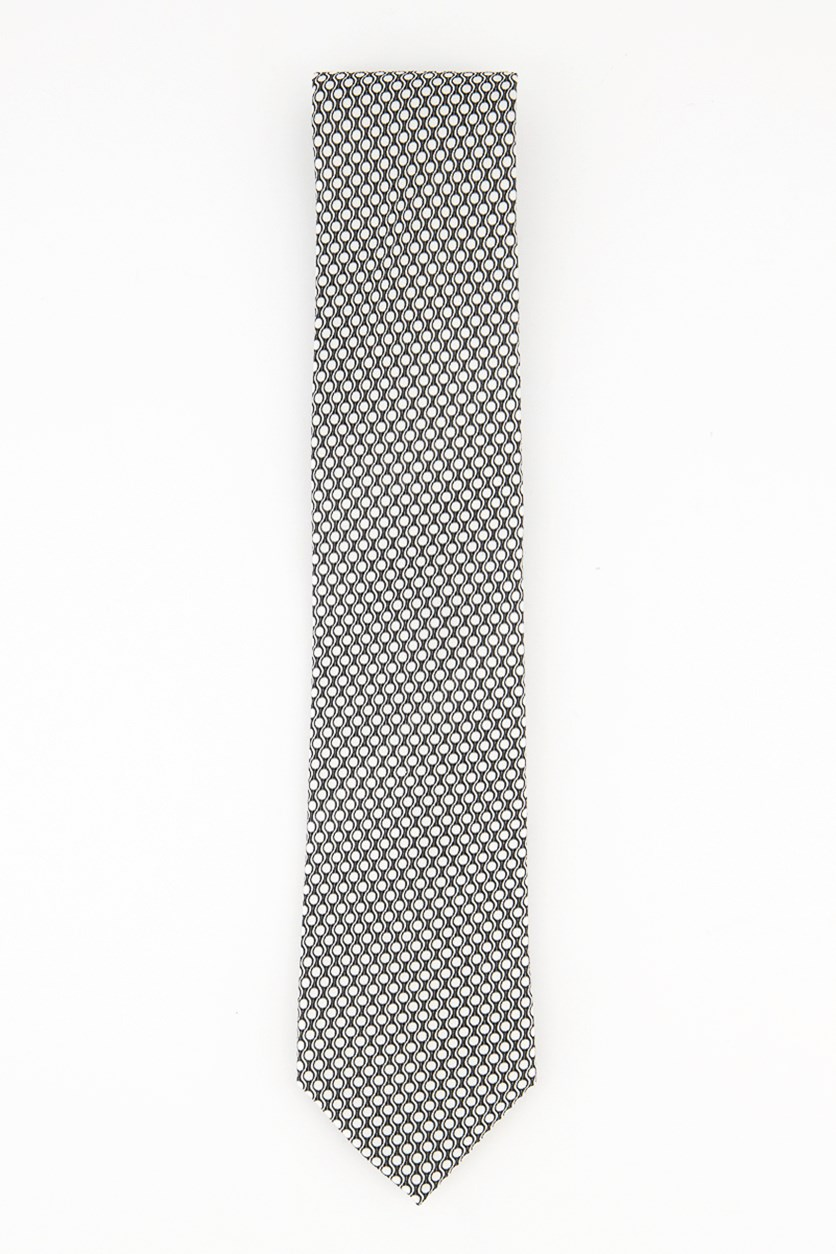 Men's Wave Textured Dot Ties, Black/White