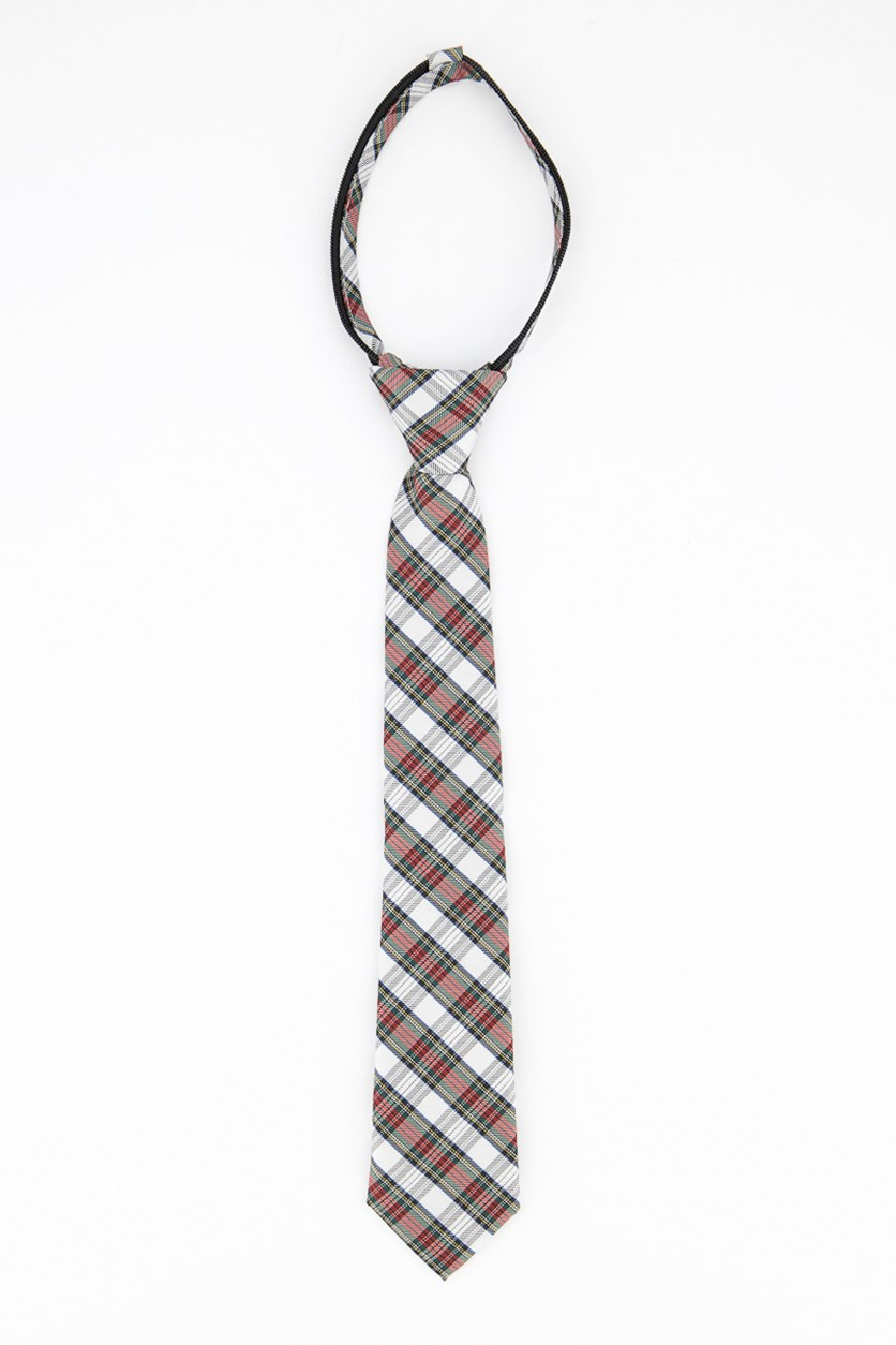 Boys Tartan Zipper Tie, White/Green/Red