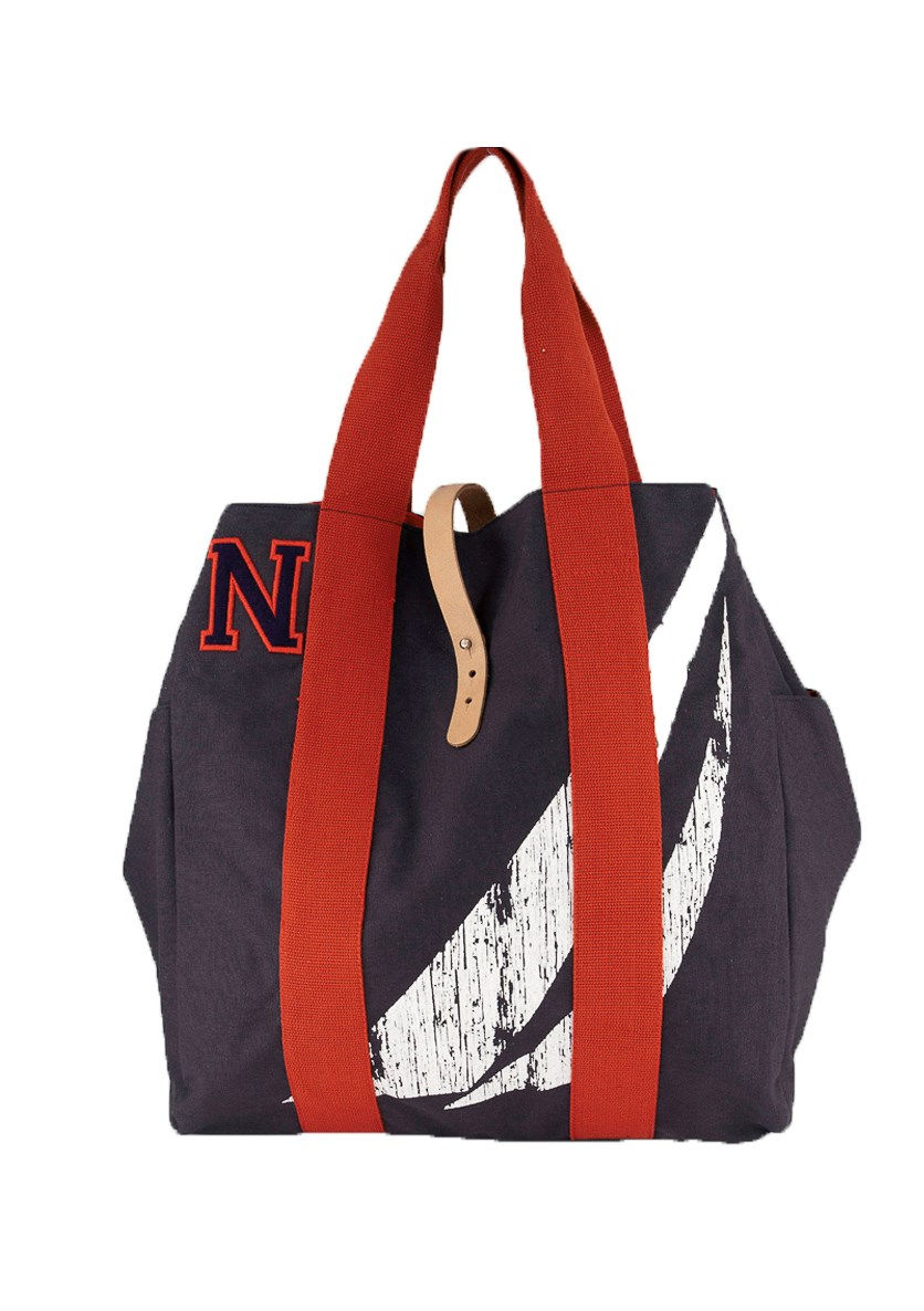 J-Class Print Canvas Tote Bag, Navy/Red