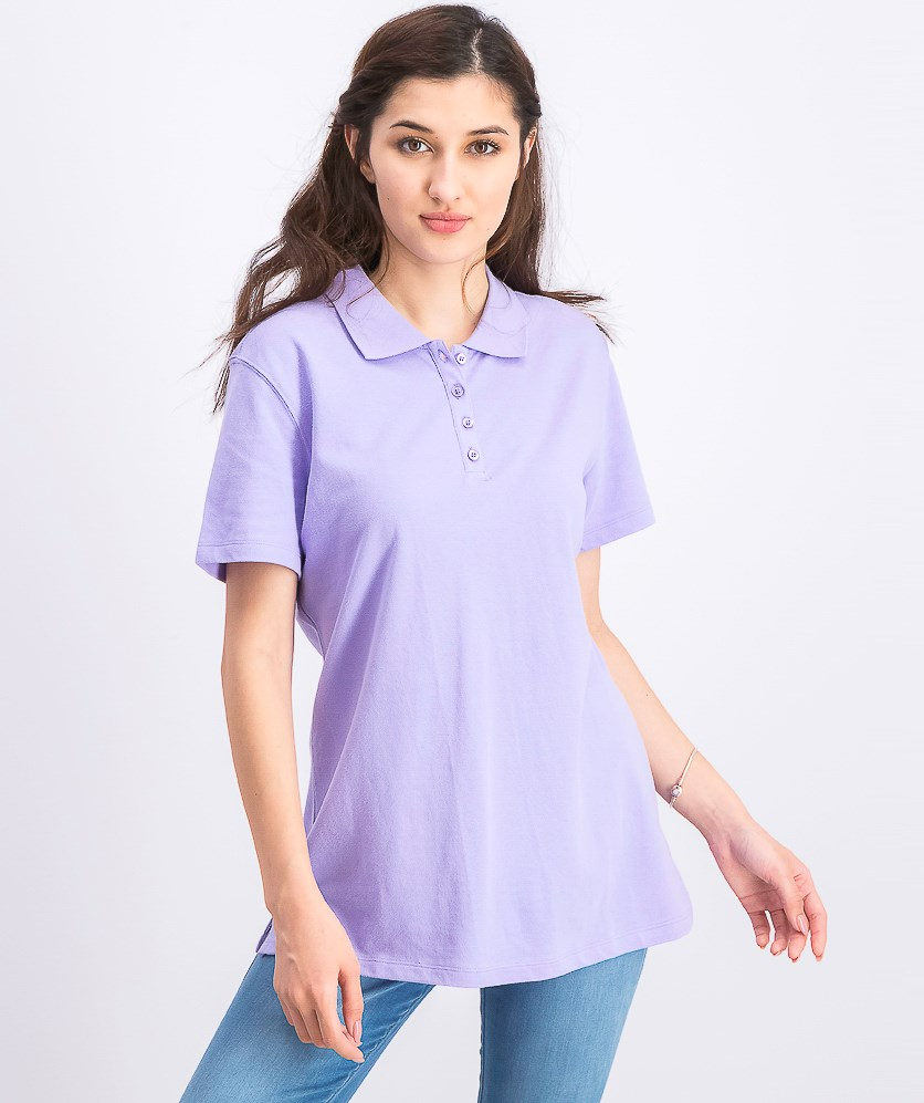 Women's Cotton Pique Polo Top, Lilac Sachet