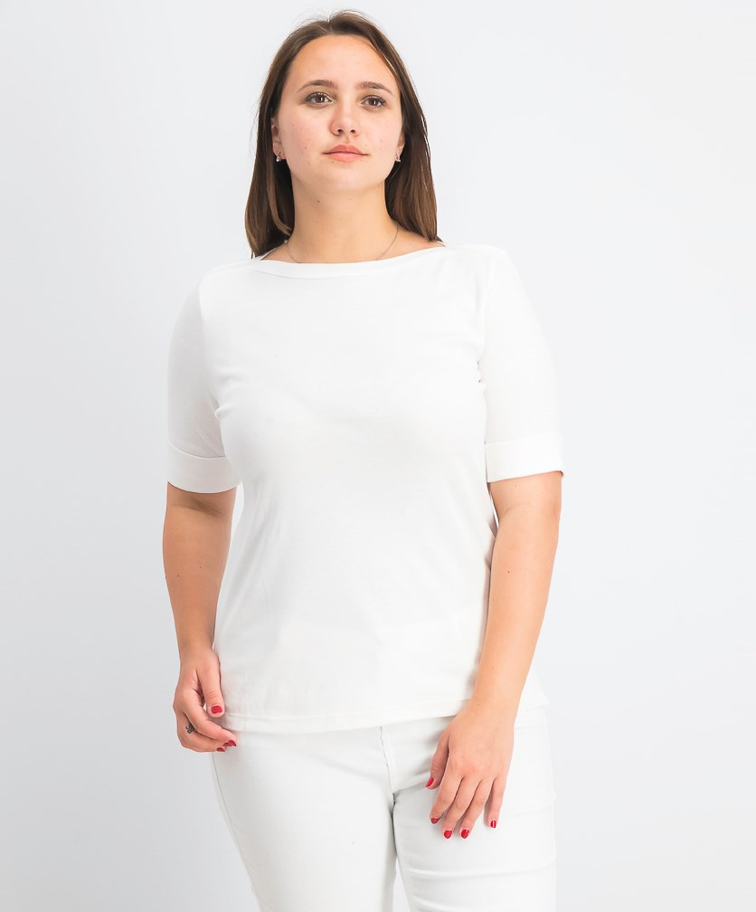 Women's Petite Elbow-Sleeve Top, Bright White