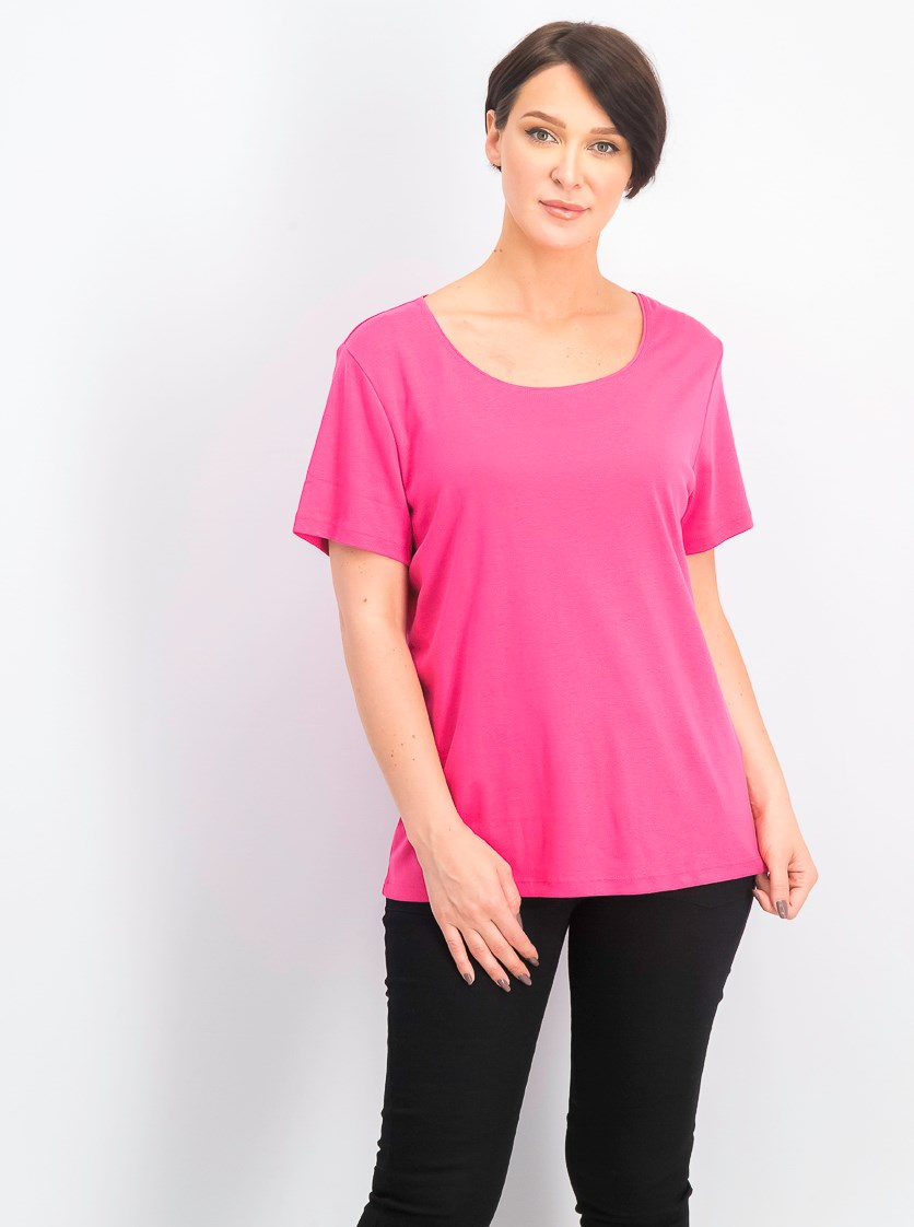 Women's Short Sleeve Scoop Neck Top, Steel Rose