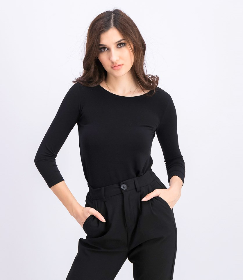 Petite High-Low Jersey Tunic, Deep Black