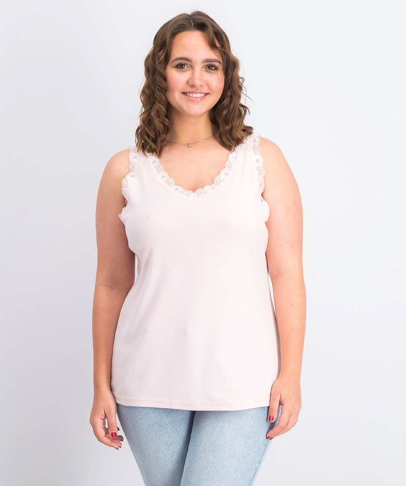 Women's Cotton Lace-Trim Tank Top, Blush