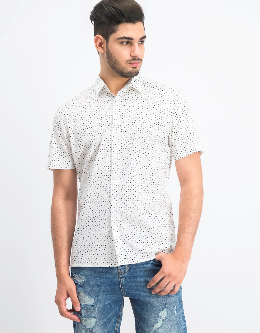 Men's Owen Printed Shirt, White Combo