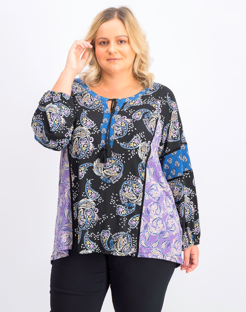 Women's Plus Size Paisley-Print Peasant Top, Carefree Mix