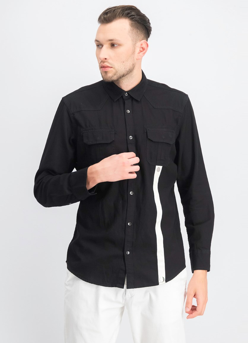 Men's Contrast Stripe Shirt, Black