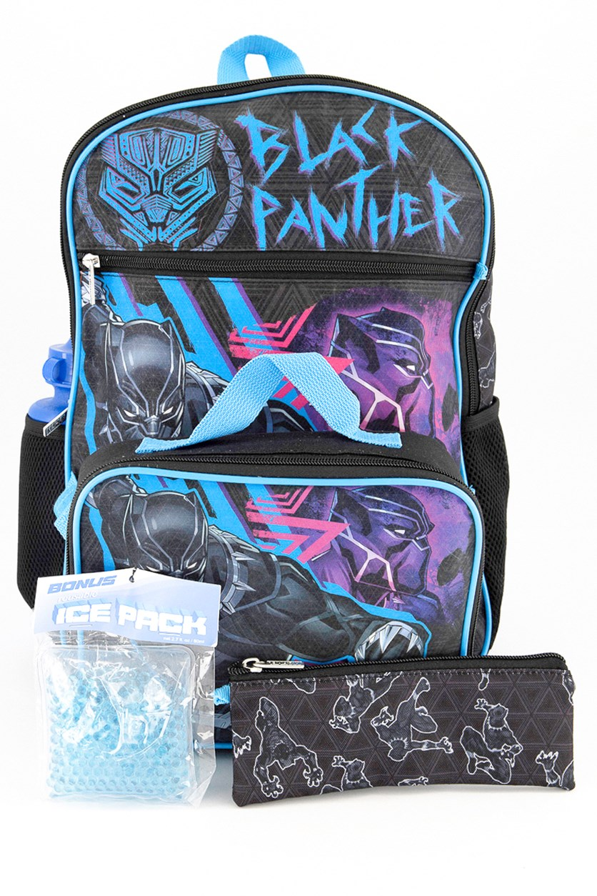 Big Boys 5-Pc. Black Panther Backpack & Lunch Kit Set, Navy