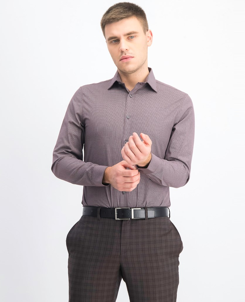 Men's Slim-Fit Stretch Mini Check Dress Shirt, Wine