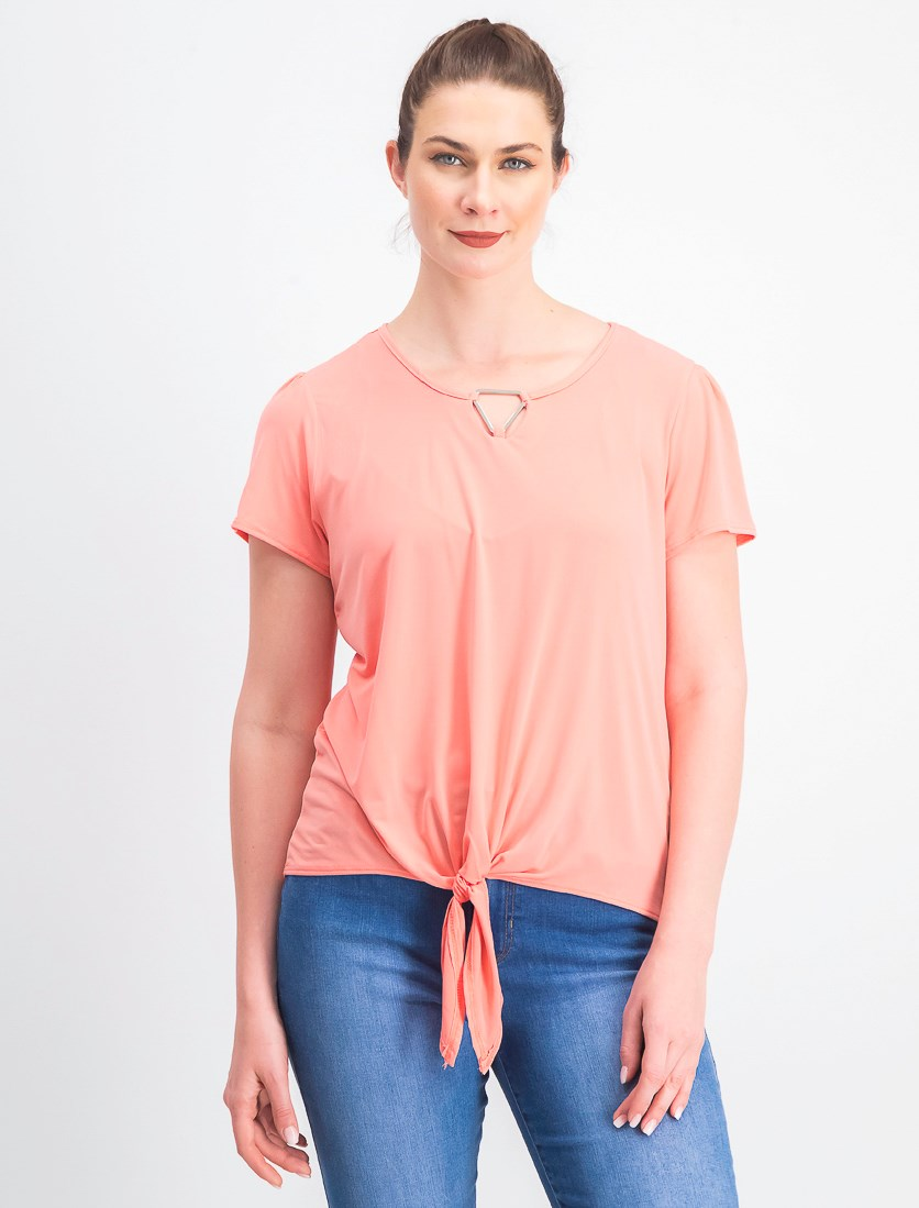 Petite Tie-Front Keyhole Top, Pink