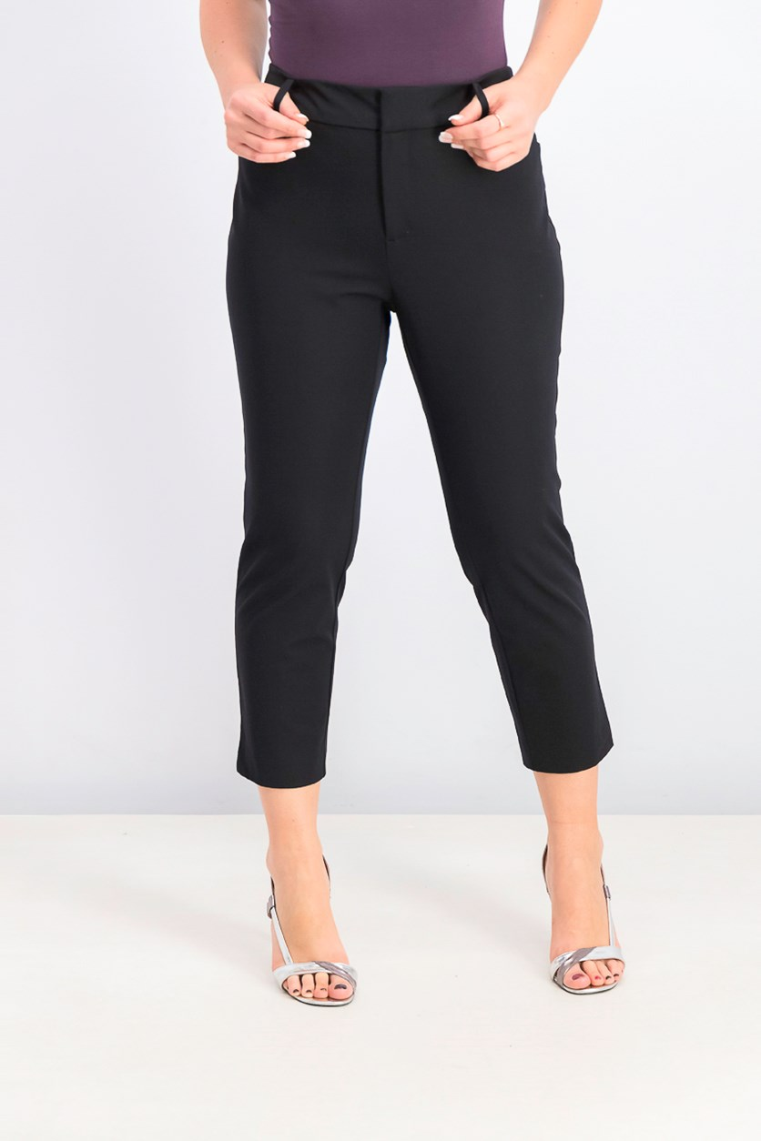 Women's Slim Leg Cropped Pants, Black
