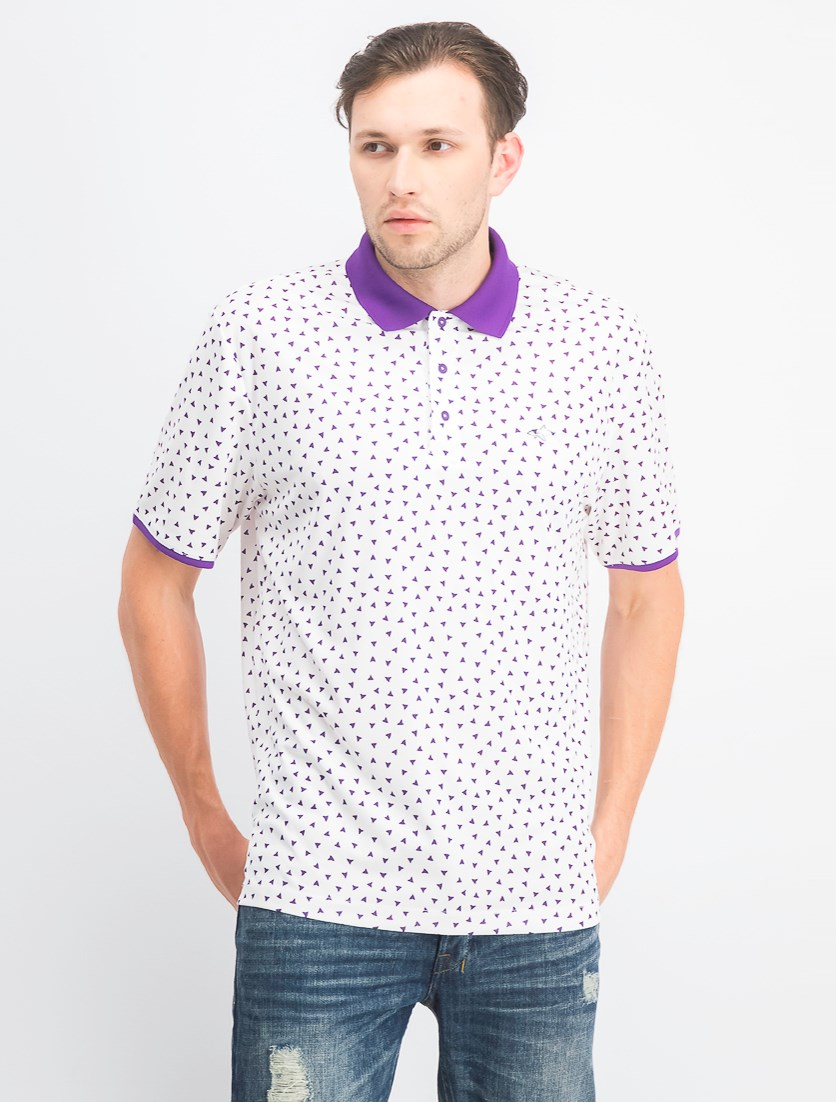 Men's Printed Polo, Bright White/Purple