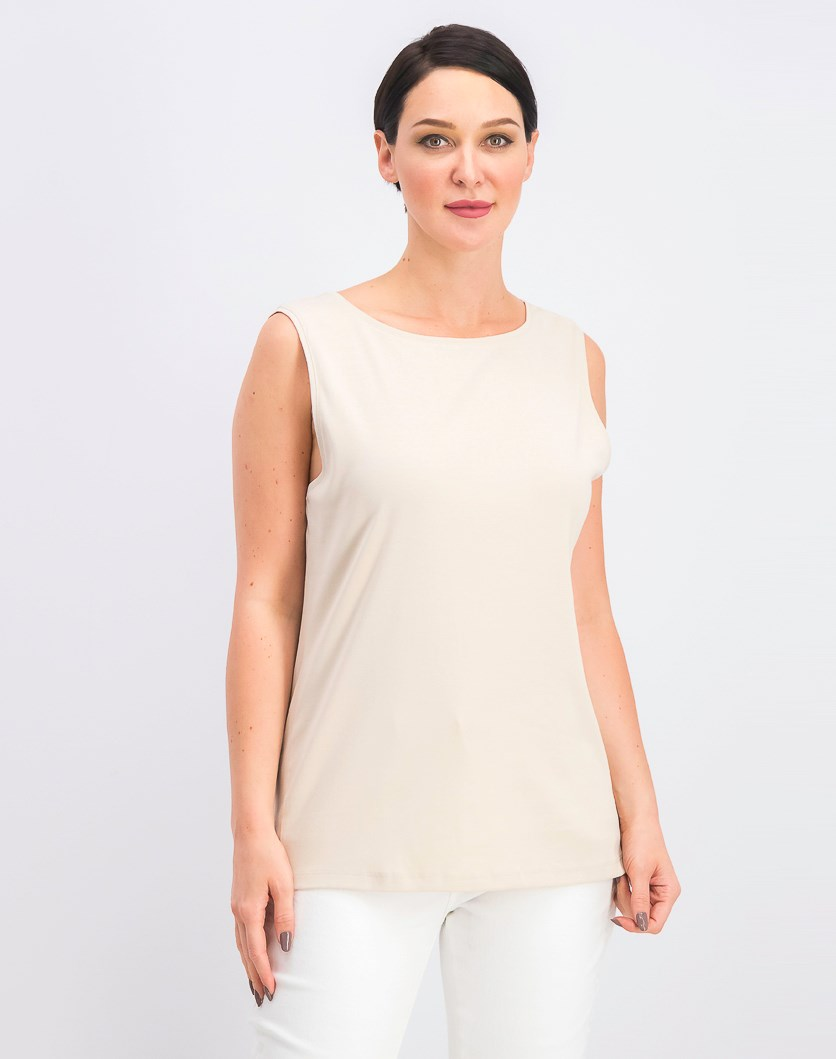 Women's Boat-Neck Cotton Tank Top, Pebble