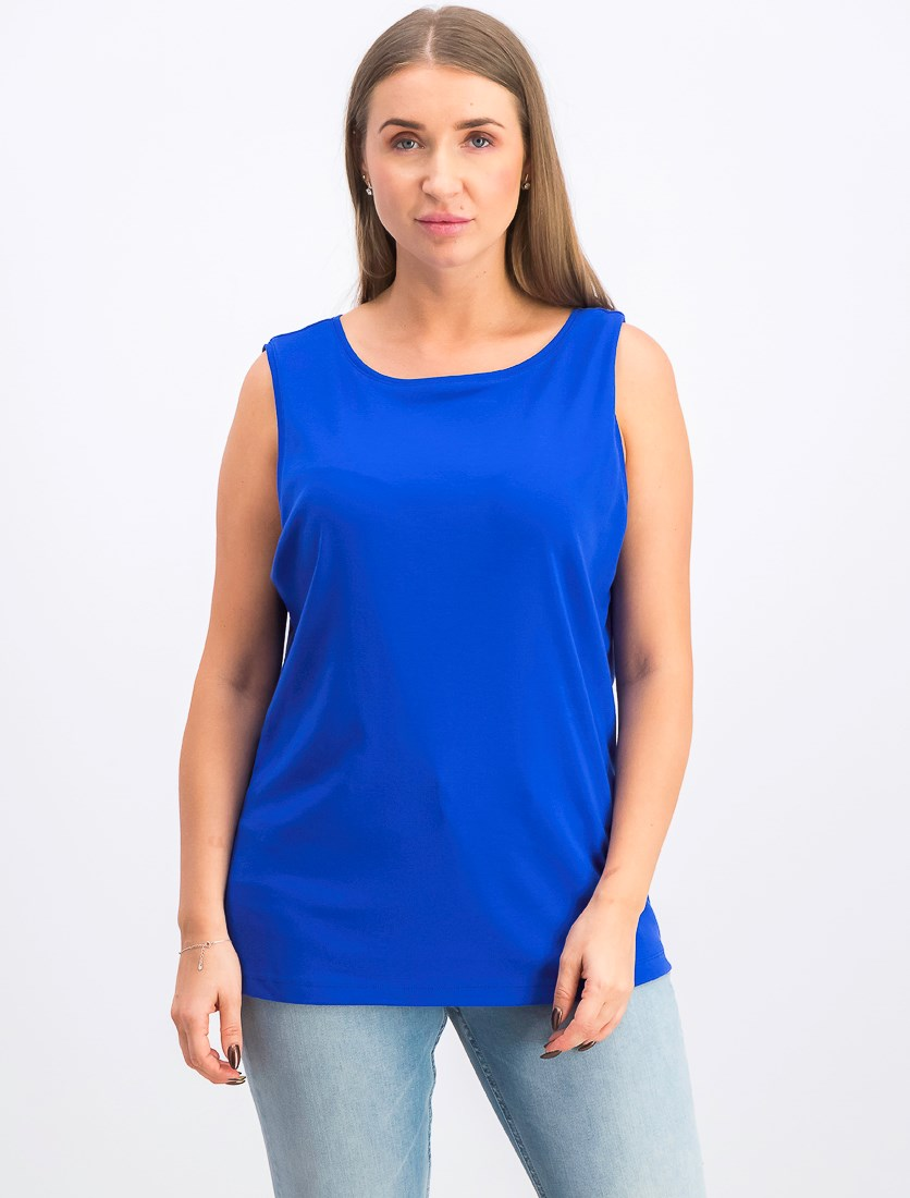 Women's Stretch Boat Neck Tank Top, Ultra Blue
