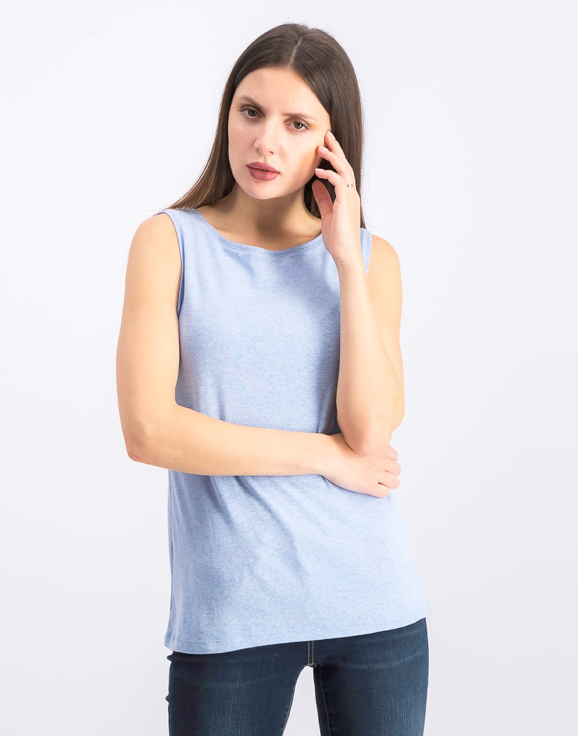 Women's  Boat-Neck Cotton Tank Top, Light Blue Heather