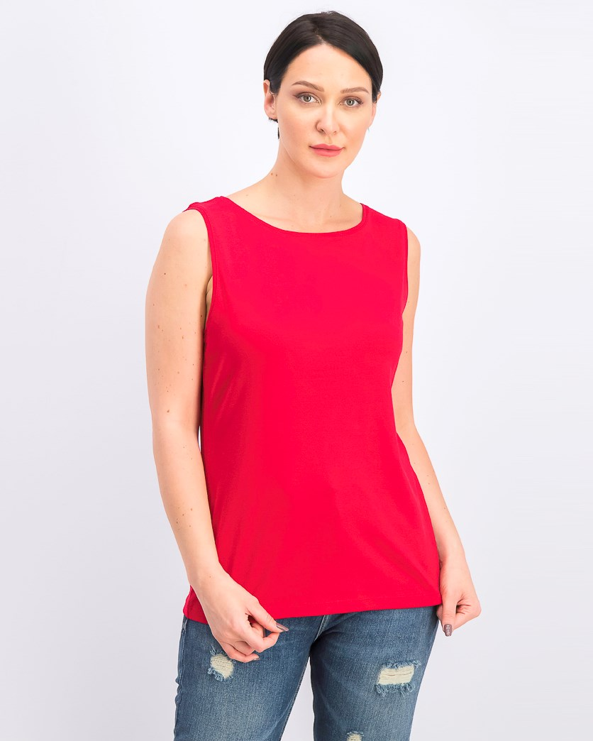 Women's Boat-Neck Cotton Tank Top, Red Amore