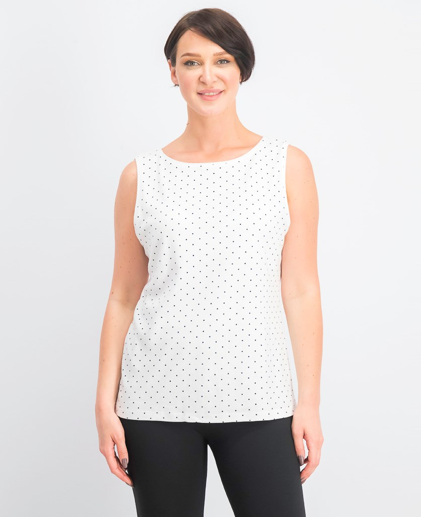 Womens Dotted Boat-Neck Shell, Bright White