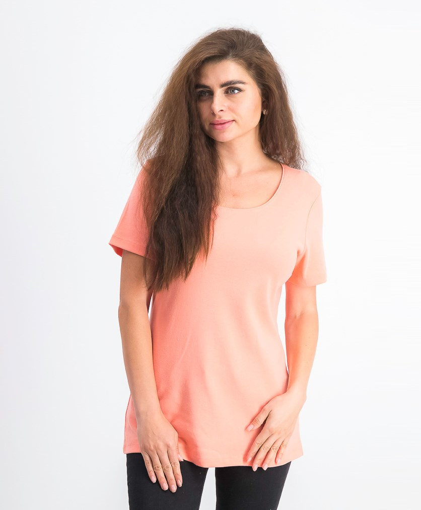 Womens Short Sleeve Scoop Neck Top, Coral Lining