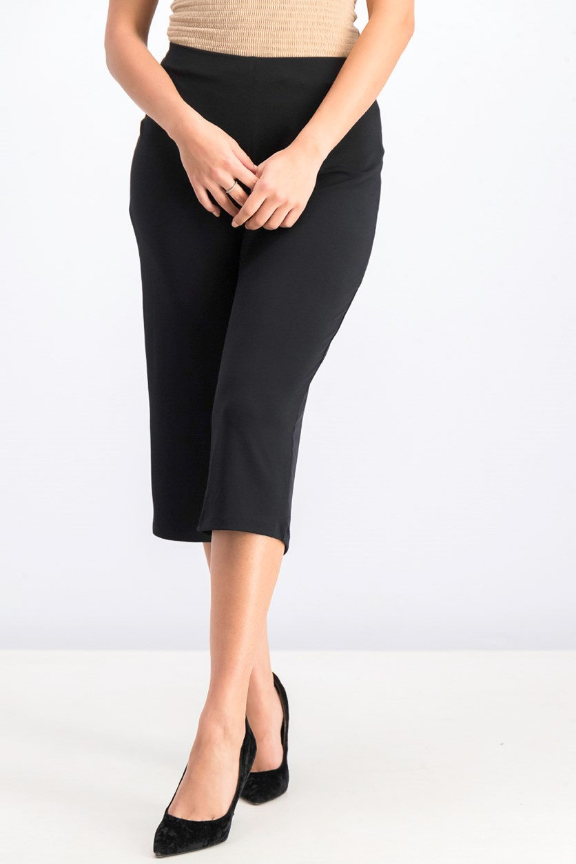 Petite Solid Culotte Pants, Deep Black