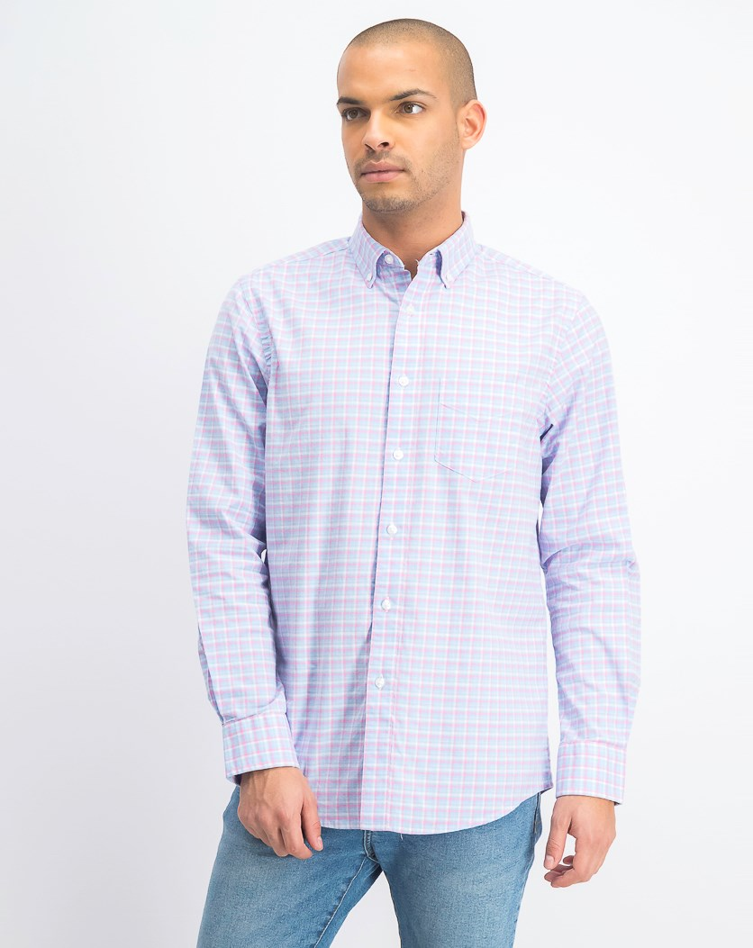 Men's Stretch Plaid Oxford Long-Sleeve Shirt, Pale Ink Blue
