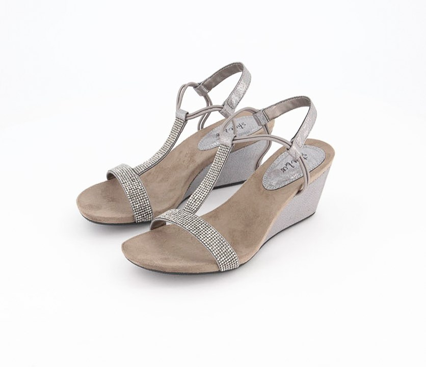 Women's Mulan 2 Embellished Evening Wedge Sandals, Gunmetal