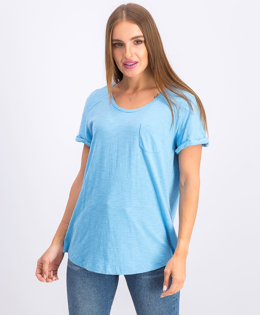 Women's Cuffed Sleeve Cotton Pocket T-Shirt, Bright Skies