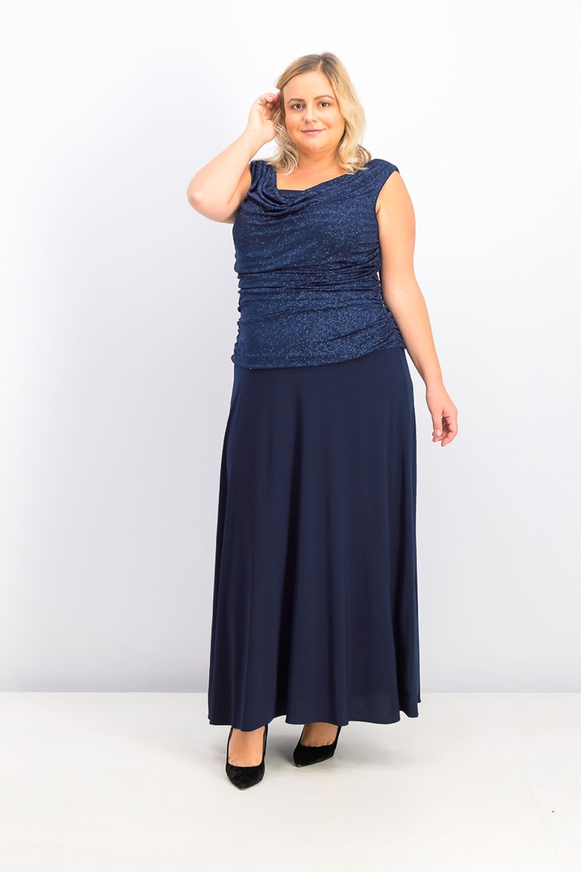Women's Plus Size Ruched Glitter Gown, Navy