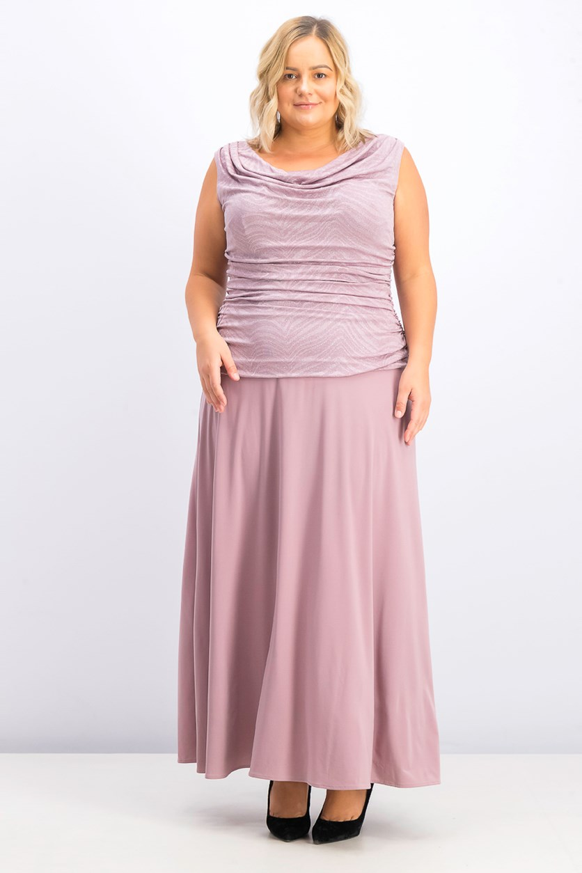 Women's Plus Size Ruched Glitter Gown, Mauve