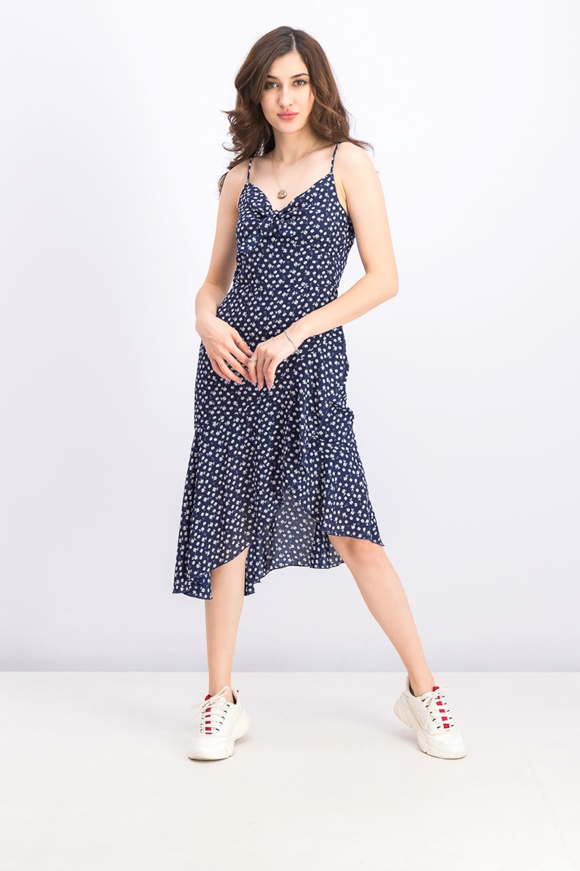 Juniors' Floral-Print Asymmetrical Flutter Dress, Navy Combo