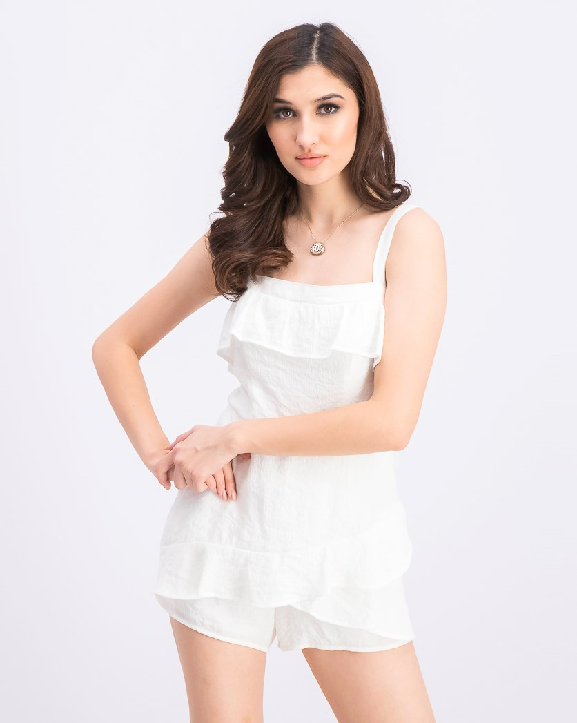 Juniors' Ruffled Skort Romper, White