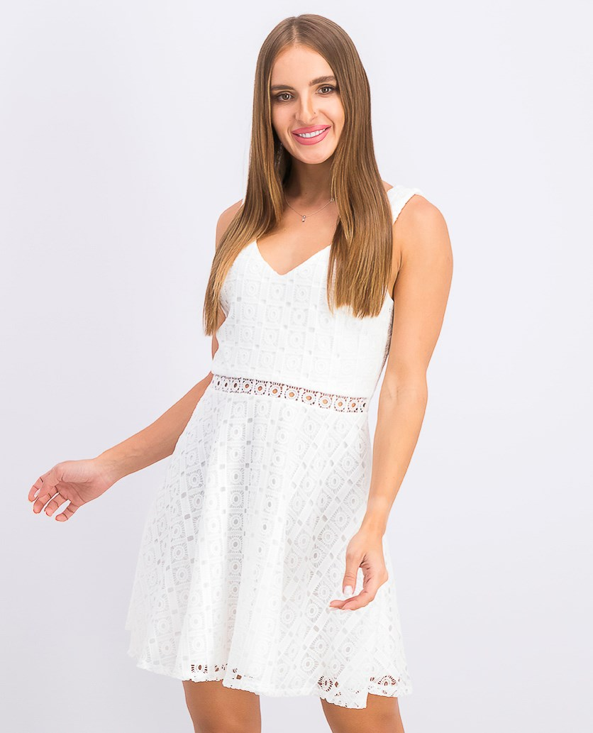Juniors' Circle Lace Fit & Flare Dress, White