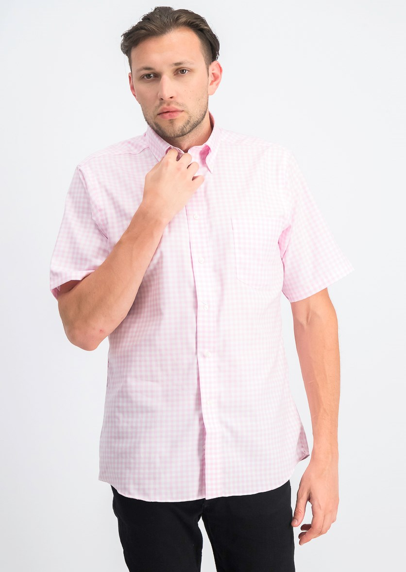 Men's Gingham Regular Fit Button Down Dress Shirt, Pink/White