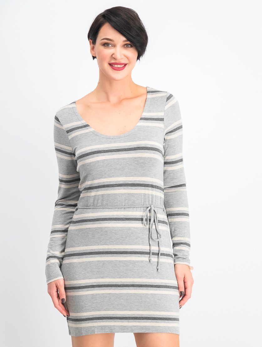 Women's Crisscross Back Pullover Stripe Dress, Grey Combo