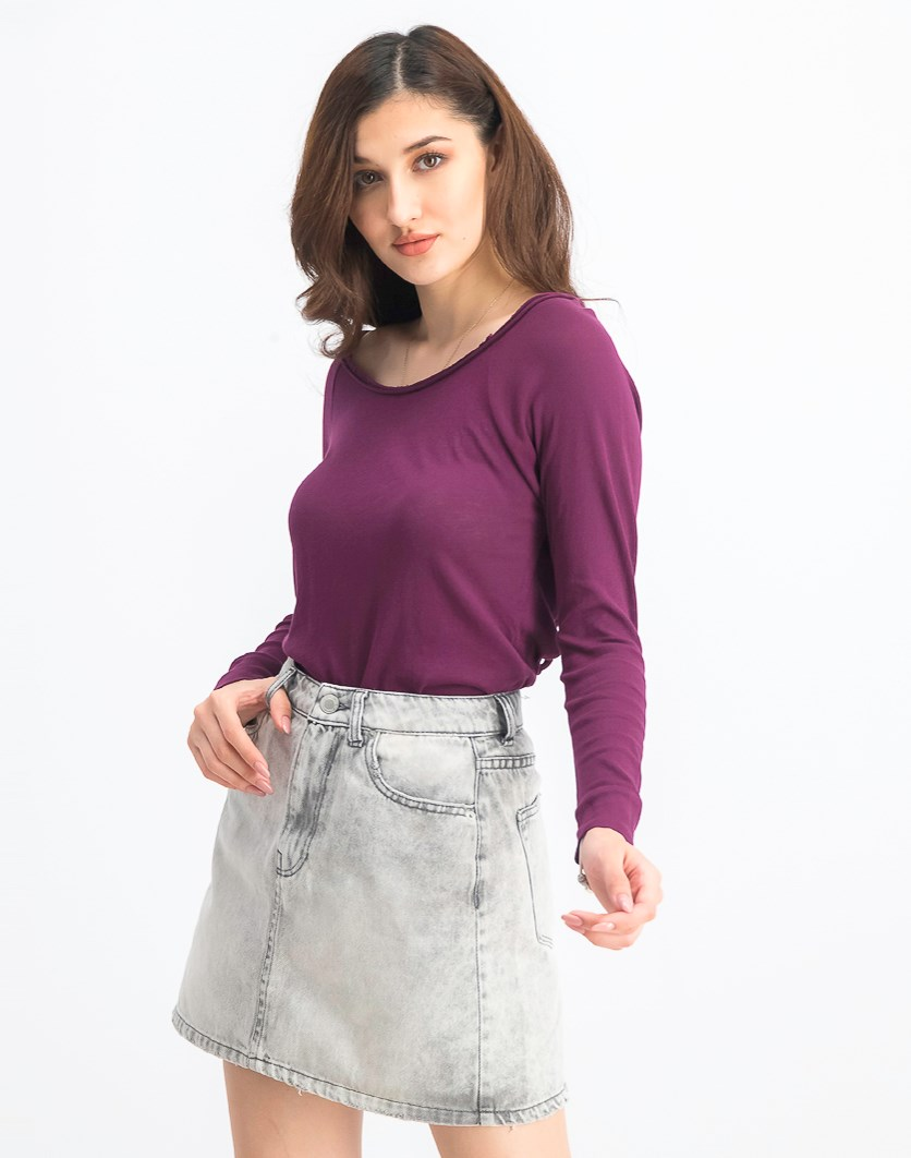 Women's Long Sleeve Top, Boysenberry