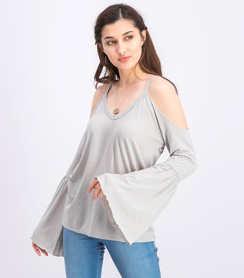 Women's Cold Shoulder Bell Sleeve Top, Cool Grey