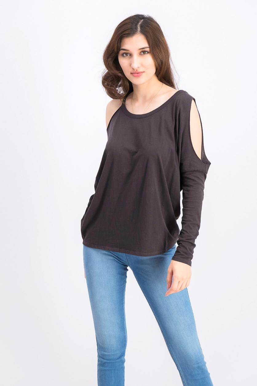 Women's Cold Shoulder Long Sleeve Top, Black