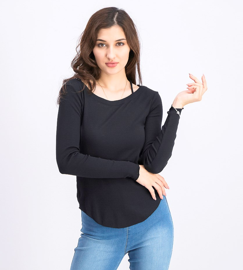 Women's Crisscross Pullover Tops, Union Black