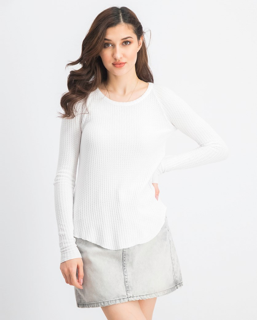 Women's Textured Long Sleeve Top, White