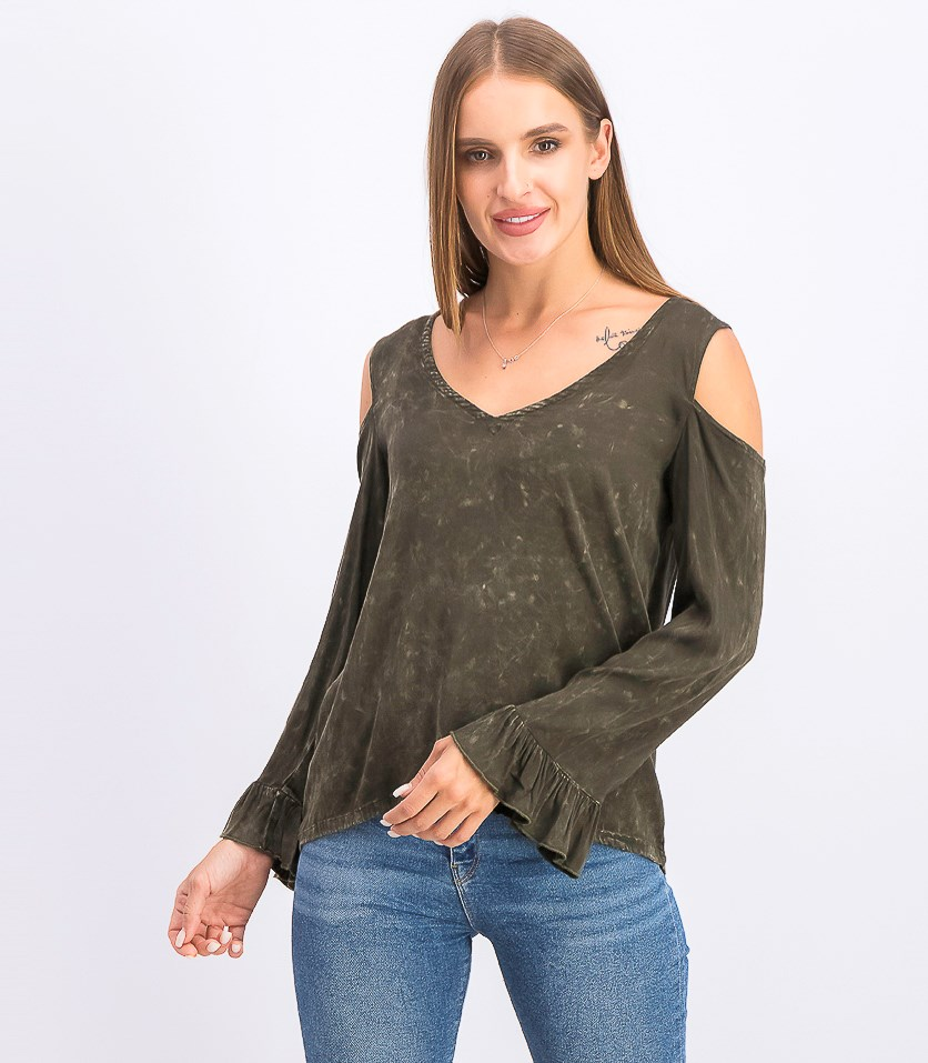 Women's Cold Shoulder Pullover Tops, Olive