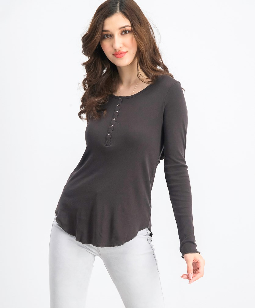 Women's Open Back Long-sleeve Tops, Very Black