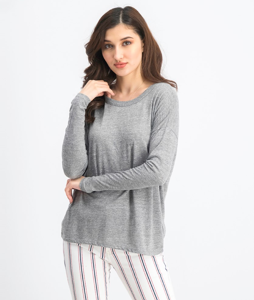 Women's Long Sleeve Top, Heather Grey