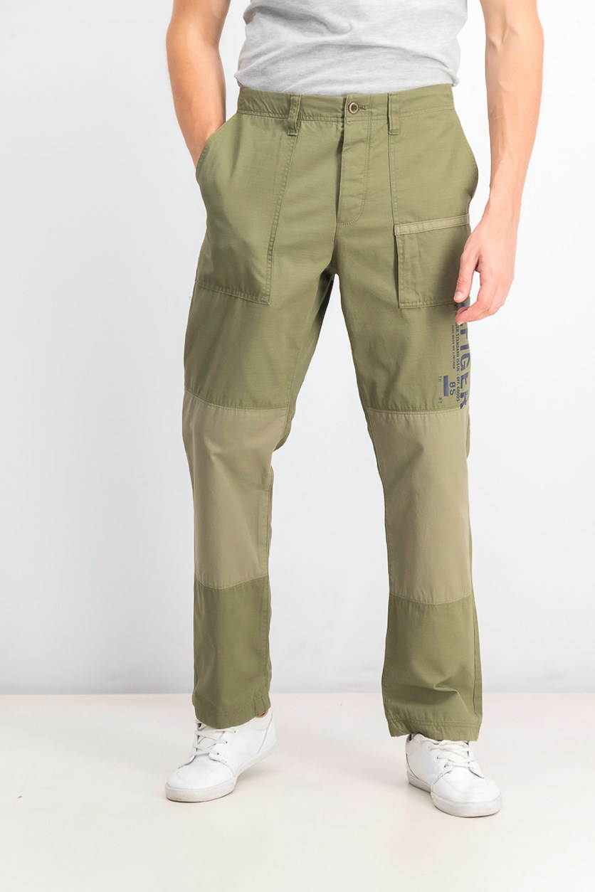 Men's Ben Regular-Fit Colorblocked Logo Pants, Olive