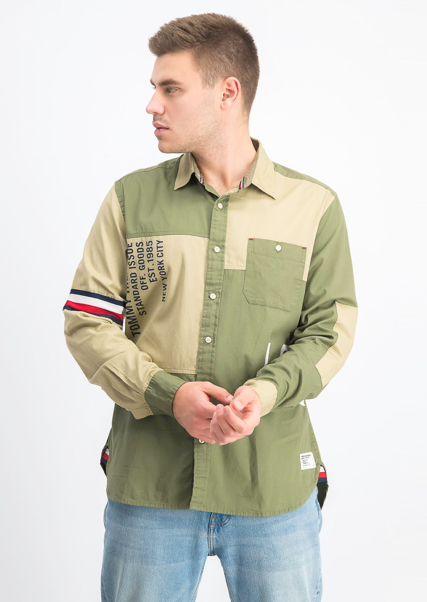 Men's Colorblocked Logo Graphic Shirt, Olive