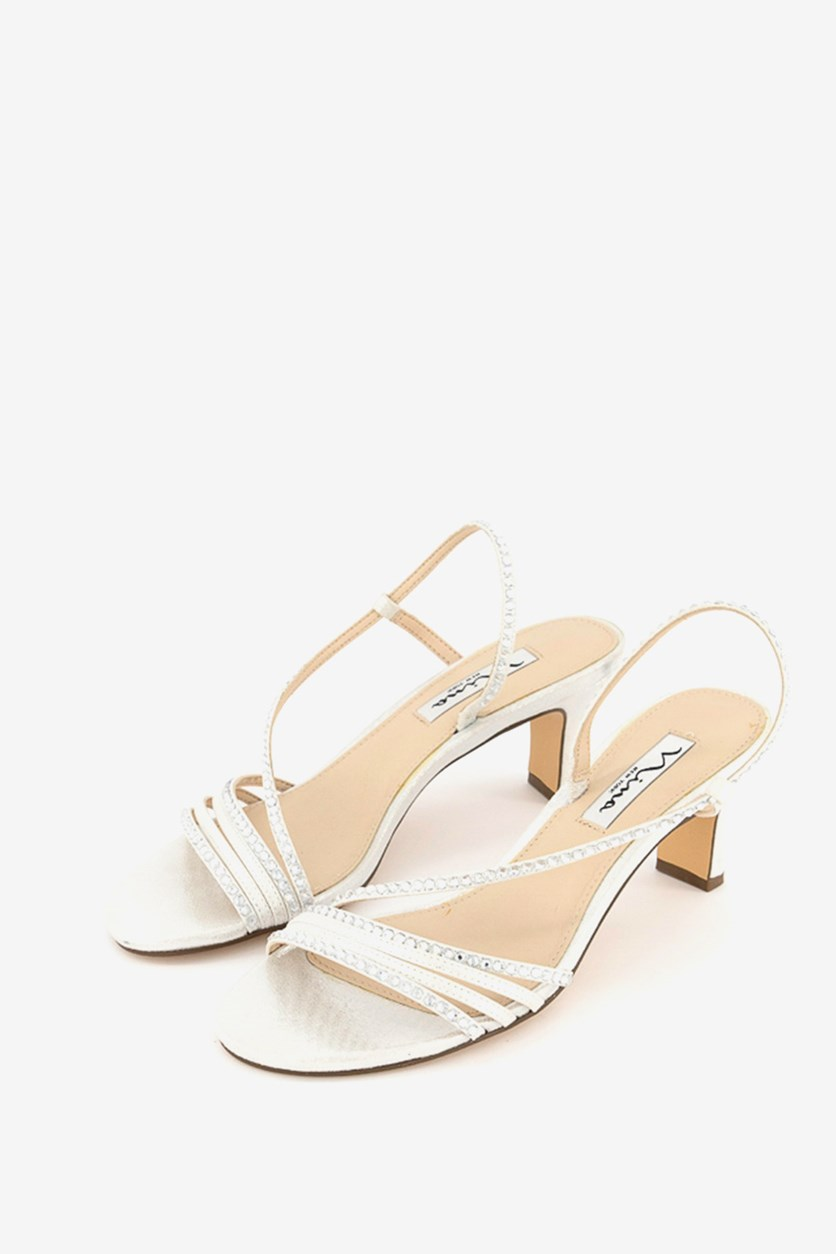 Women's Cross Strap Evening Sandals, Silver Reflect