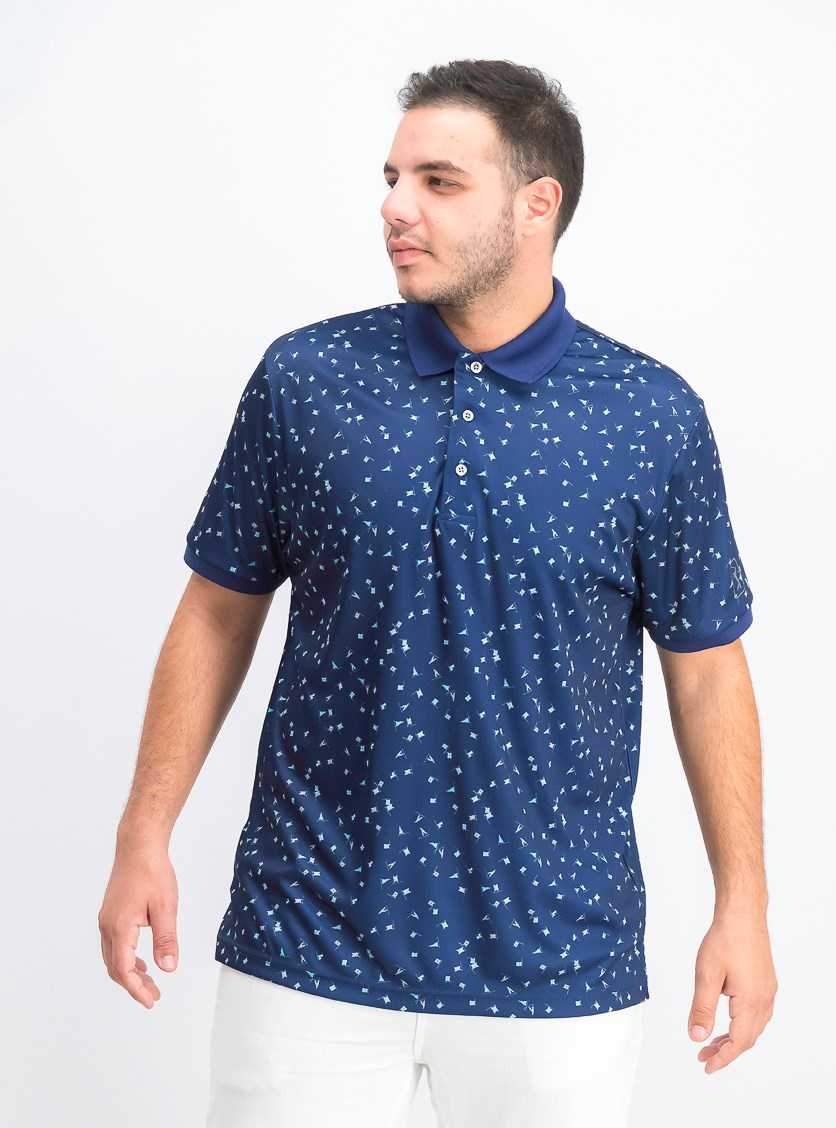 Men's Printed Golf Polo, Dark Blue