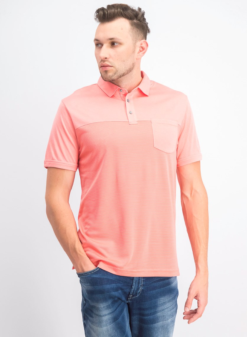 Men's Texturized End-On-End Pocket Polo, Sugar Coral