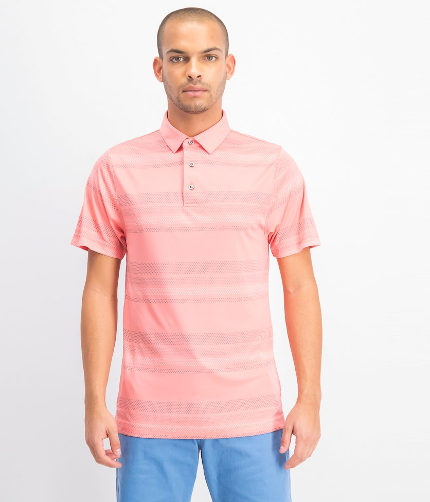 Men's Printed-Stripe Golf Polo, Sugar Coral