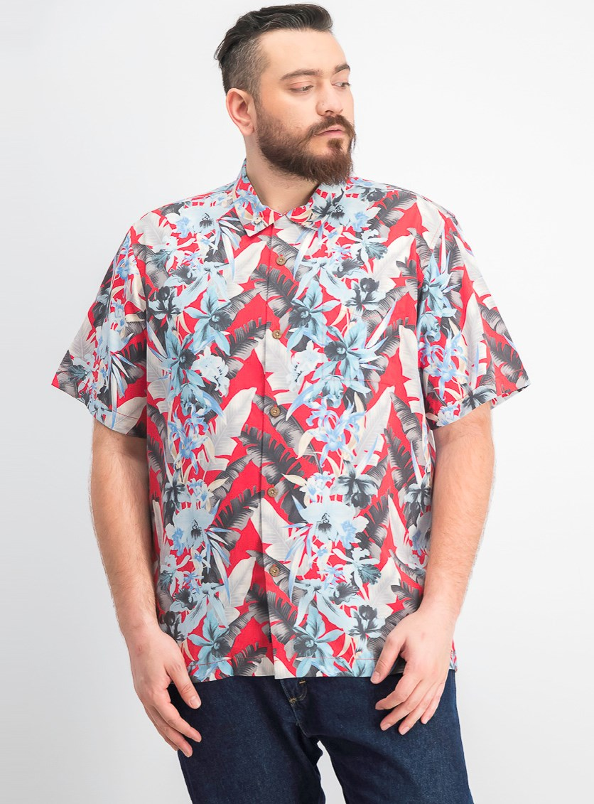 Men's Da Vinci Vines Tropical Print Camp Shirt, Red/Blue Combo