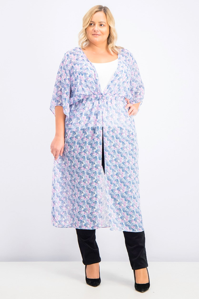 Women's Plus Charming Floral Semi-Sheer Duster Kimono, Blue