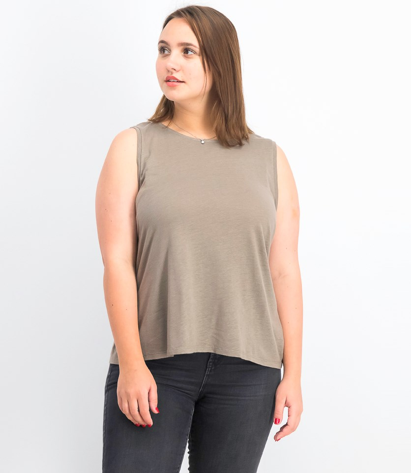 Women's Twist Back Linen Blend Tank Top, Dusty Sage